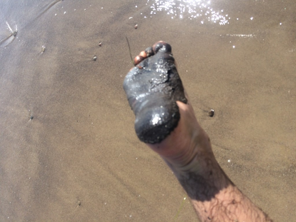 The foot of the 4th Place State Longboarding Champ and beach geomorphologist extraordinary, Alex Greene apparently encountered some oil at Coal Oil Point today.