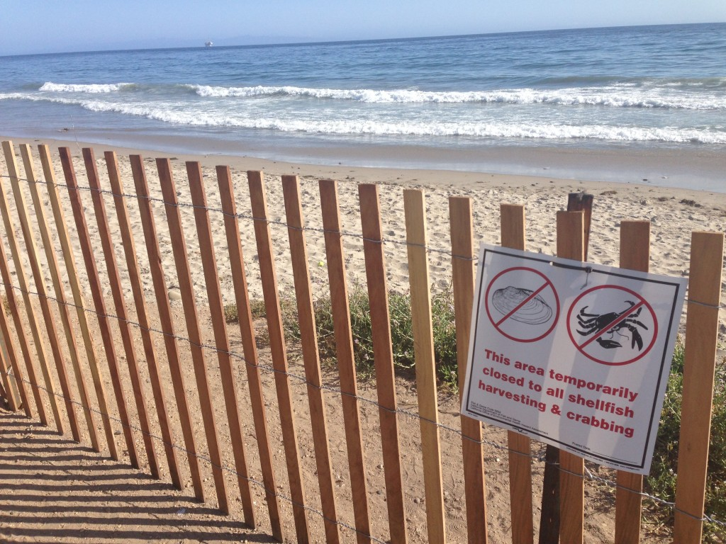 Bacara Beach fishing closure sign due to Refugio Oil Spill.