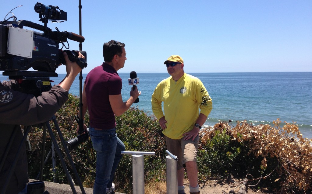 NBC4's Gordon Tokumatsu interviewing Dr. Sean Anderson at El Capitan State Beach on May 20, 2015.