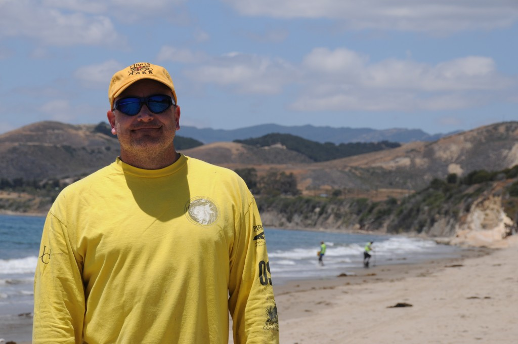 Dr. Anderson during sandy beach monitoring before oil arrives upon El Capitan State Beach, CA.