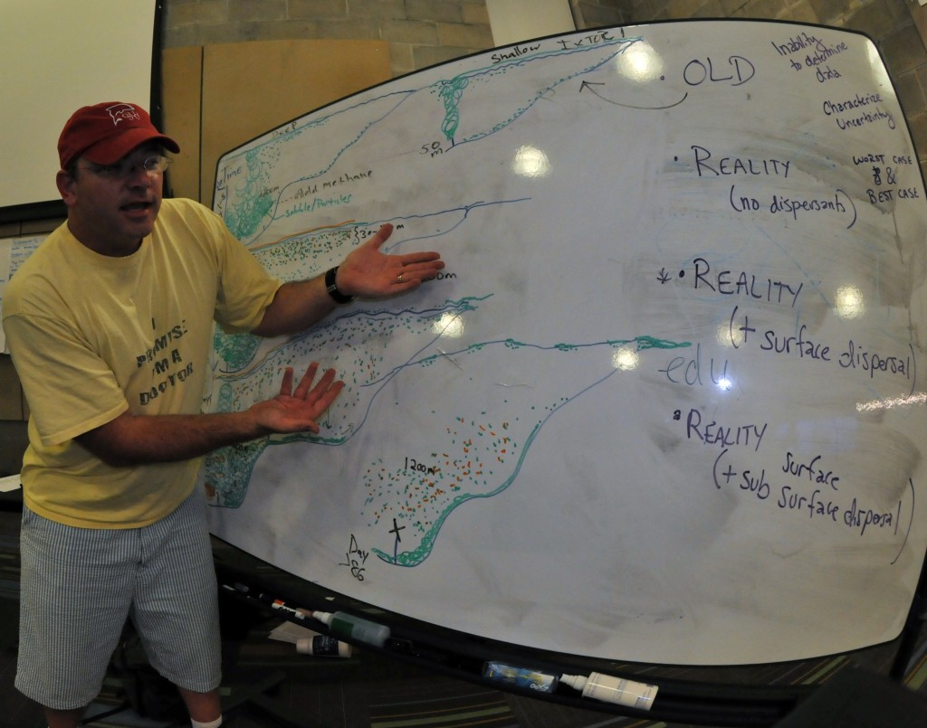 Dr. Sean Anderson discussing oil spill scenarios with his NCEAS Deepwater Horizon EcoTox Working Group at Dauphin Island Sea Lab on September 16, 2010.