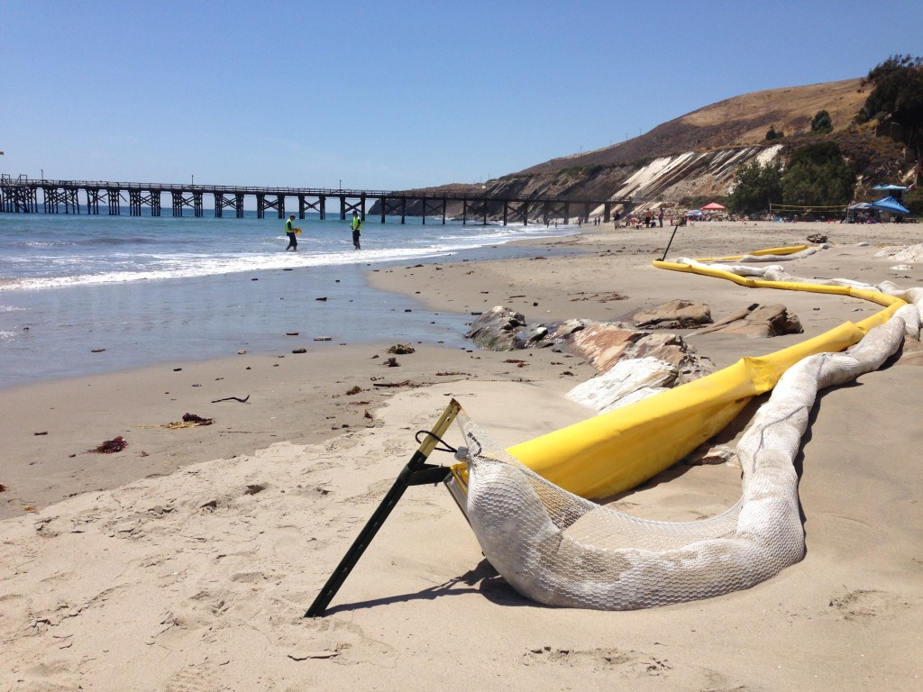 Oil exclusion boom at Gaviota State Beach on May 24, 2015.