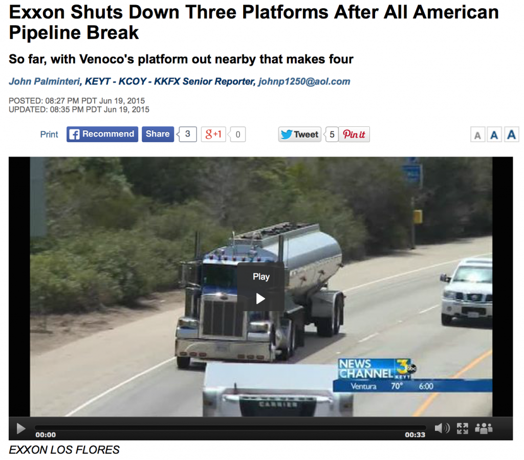 KEYT 3 News Reports that four platforms are now shuttered in the wake of the Refugio Spill.