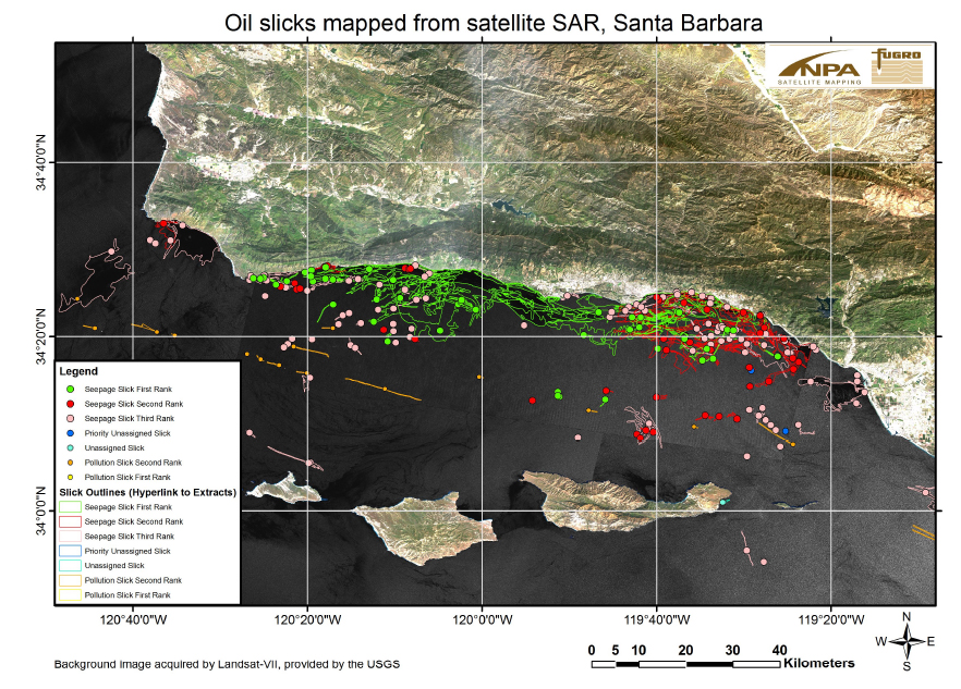 Southern California Bight showing possible oil slicks and seeps.  Colors coded by confidence level where green>red>pink.  Possible oil pollution slicks are seen in yellow tones.  Image source: Fugro NPA Limited satellite mapping services.