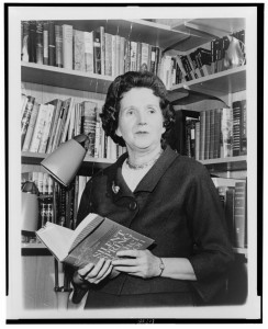 Rachel Carson holding her ecotoxicological treatise Silent Spring.  Image: Rachel Carson Archives