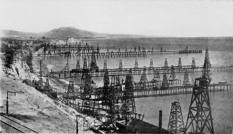 Summerland offshore wells near the end of the play of this nearshore reservoir.  Image: Museum of Ventura County.