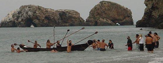 Chumash arrive at Santa Cruz Island in a modern Tomol.  Photo: National Park Service.