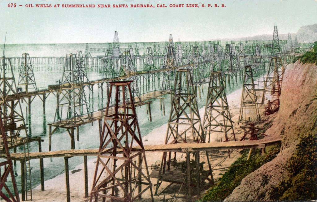 Old Postcard from my image collection from turn of the 20th century Summerland Oil field.