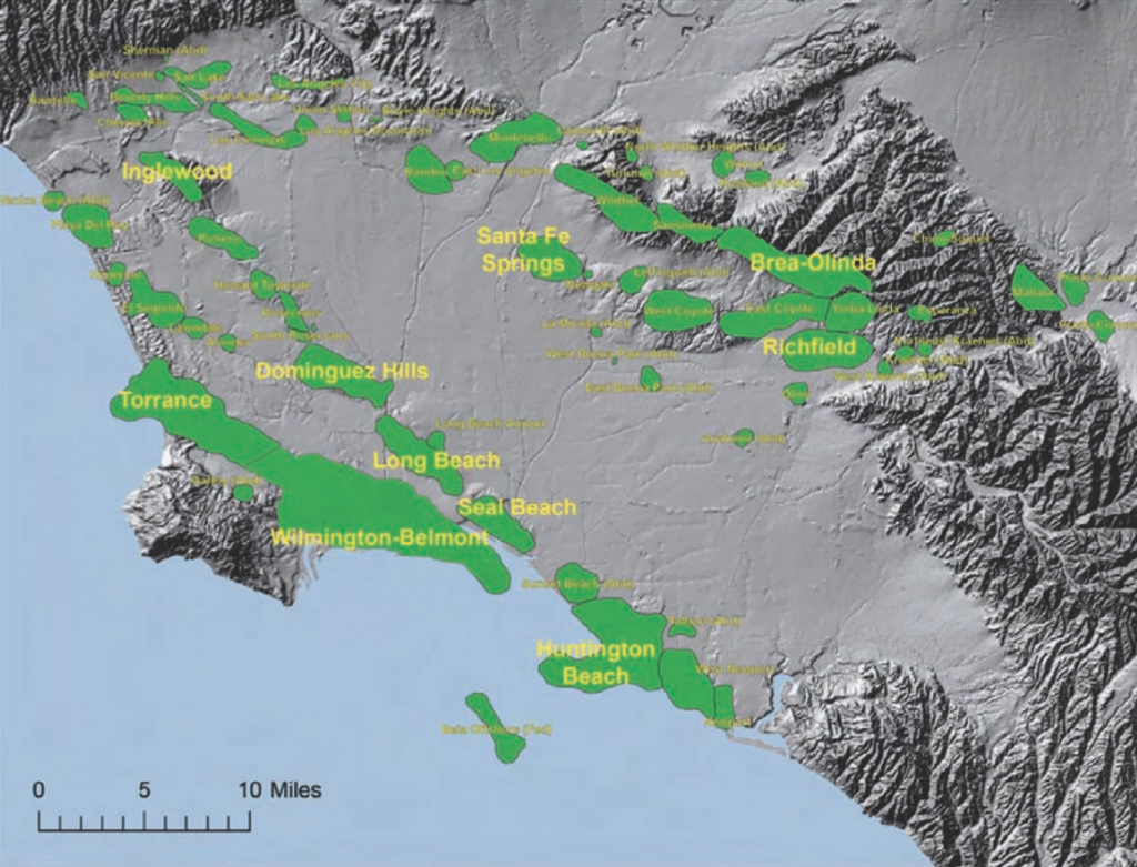 Major oil formations in the greater LA Basin. Map showing shaded relief topography and named oil fields of the Los Angeles Basin. The ten largest fields, studied by Gautier et al. (2013) are labeled in bold type. Source: Figure 4.2-4 from CCST (2015).