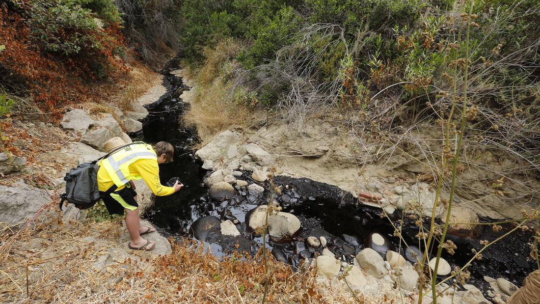 Gabriel Anderson, 13, photographs a section of the oil spill in Ventura. He was with his father, Sean Anderson, a professor at Cal State Channel Islands, who was collecting samples to test for toxicity. Image: Mel Melcon, Los Angeles Times.