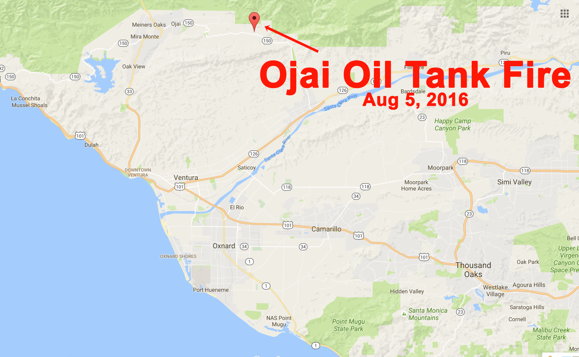 Ojai Oil Tank On Fire Ci Keys Csu Channel Islands